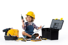 Little boy dressed as utility worker Stock Image