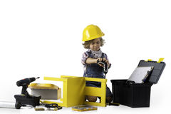 Little boy dressed as utility worker Royalty Free Stock Images