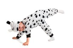 Little boy   dressed in a Dalmatian  suit. Stock Photo