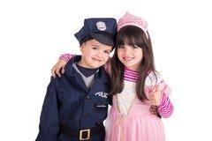 Little kids posing on halloween stock photo