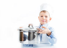 Little boy dressed like a chef Stock Image