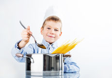 Little boy dressed like a chef Royalty Free Stock Image