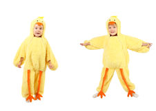 Little boy dressed up in a chicken costume Stock Image