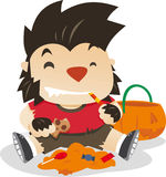 Little boy dresses as werewolf in halloween night Royalty Free Stock Photo