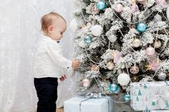 A little boy dresses a Christmas tree in the room Stock Image