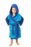 Little boy dressing blue bathrobe, smiling, isolated on white Stock Image