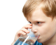 Little boy drink cold water. From the glass. Closeup Royalty Free Stock Photography