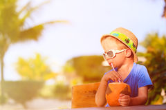 Little boy drinking coconut cocktail on beach. Little boy drinking coconut cocktail on tropical beach Stock Photography