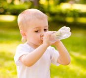 Little boy drinking fresh water in the park Royalty Free Stock Photos