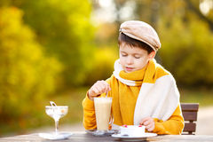 Little boy drinking hot chocolate in cafe stock photo
