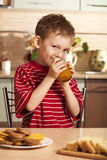 Little boy drinking juice Royalty Free Stock Photo