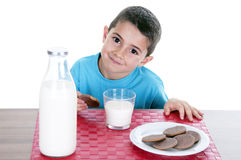 Little boy drinking milk and cookies Stock Image