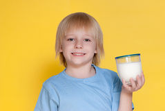 Little boy drinking milk Royalty Free Stock Photos