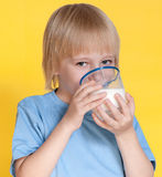 Little boy drinking milk Royalty Free Stock Images