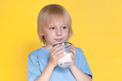 Little boy drinking milk Royalty Free Stock Photo