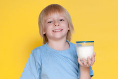 Little boy drinking milk Royalty Free Stock Photography