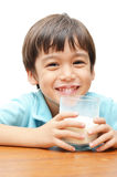 Little boy drinking milk with smiling Royalty Free Stock Image
