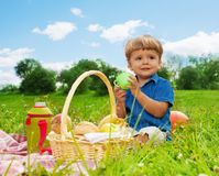 Little boy drinking on picnic Royalty Free Stock Photo