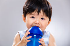 Little boy drinking water bottle Royalty Free Stock Images