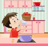 Little boy drinking water in kitchen. Illustration vector illustration