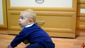 Little boy drinks juice stock footage
