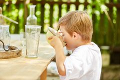 Little boy drinks milk from the cereal bowl. Little boy sits at breakfast and drinks the milk from the cereal bowl Stock Photos