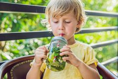 A little boy drinks water with mint and lime. Drink more water c stock photography