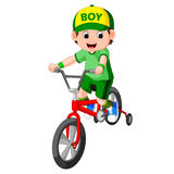 Little boy driving bicycle. Illustration of little boy driving bicycle stock illustration