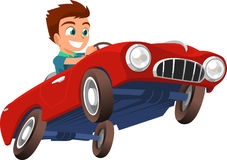 Little boy driving a sports car illustration. Little boy Driving Red Sports Car  illustration cartoon Stock Image