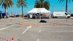 Little Boy Driving Toy Car stock video footage
