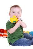Little boy with duck toy. Royalty Free Stock Photos