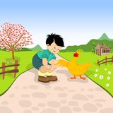 Little boy and duck. On a village road royalty free illustration