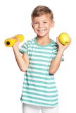 Little boy with dumbbells Stock Images