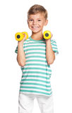 Little boy with dumbbells Royalty Free Stock Images