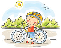 Little Boy e bici illustrazione di stock
