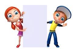 Little Boy e menina com placa branca Imagens de Stock Royalty Free