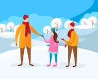 Little Boy e menina que andam com o pai no inverno ilustração royalty free