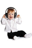Little boy with earphones Royalty Free Stock Image