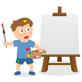 Little Boy with Easel Canvas & Paintbrush Royalty Free Stock Image