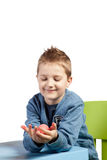 Little boy and Easter egg Stock Image