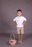 Little boy with Easter egg basket Royalty Free Stock Photos