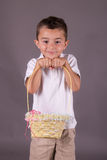 Little boy with Easter egg basket Stock Photo
