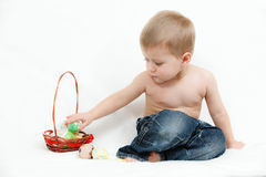 The little boy with Easter eggs Royalty Free Stock Image