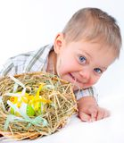 Little boy with easter eggs in basket Royalty Free Stock Photography
