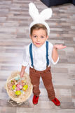 Little boy with Easter eggs stock photography