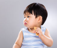 Little boy eat biscuit and look aside Stock Photo