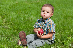 Little boy eating apple outside Stock Images