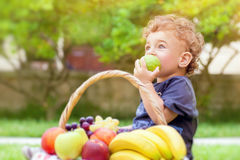 Little boy eating apple Royalty Free Stock Photos