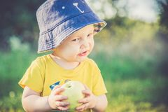 Little boy eating apple in summer. Day, wearing hat stock photos