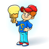 Little boy eating a big ice cream Royalty Free Stock Photos